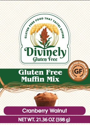 packaging image for gluten free cranberry walnut muffin mix