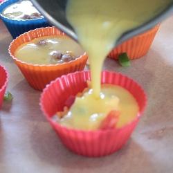 pouring eggs gluten free quiche