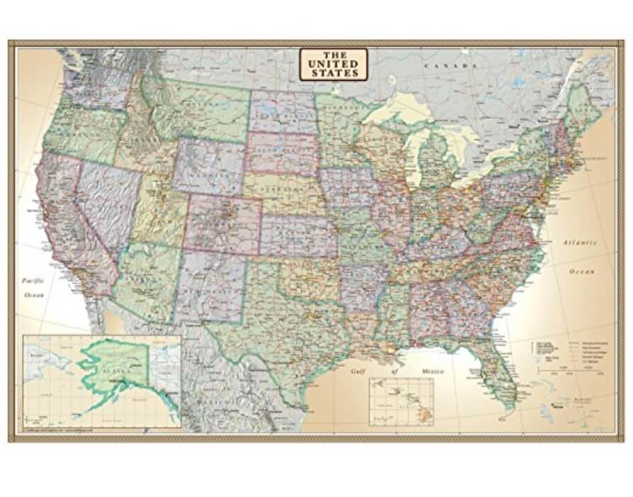 United States Wall Map Divine On The Road - Us-map-key