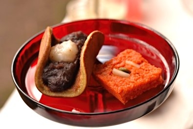 Japanese Dorayaki with mochi and Indian Carrot Barfi