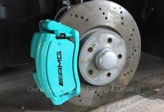 divinesplash.com car spray painting service. blue caliper spray