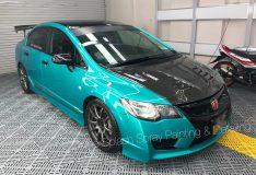 blue civic. car spray painting singapore. car spray. car spray sg. divinesplash.com