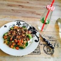 Lauwwarme salade met zoete aardappel