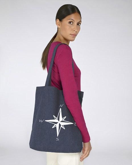 Sac bleu foncé pour femmes ou hommes avec le motif Rose des vents - Diving Reflex
