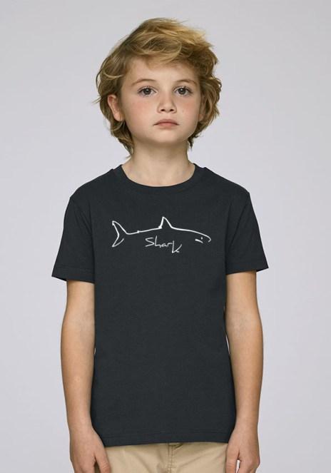Tee-shirt noir et mixte pour enfants avec le motif Shark -Diving Reflex