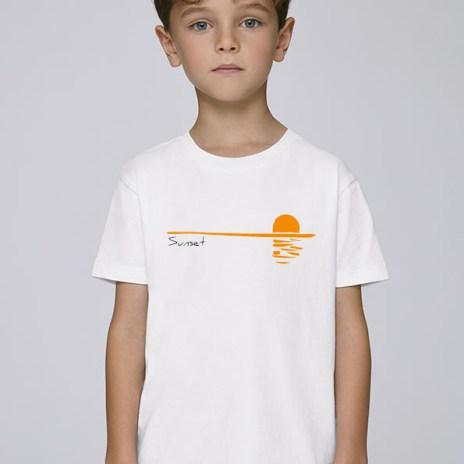Tee-shirt blanc et mixte pour enfants avec le motif Sunset -Diving Reflex