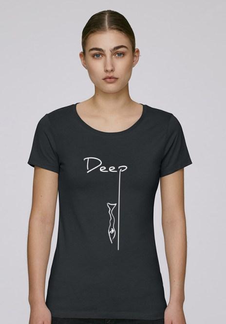Tee-shirt noir pour femmes avec le motif Deep - Diving Reflex