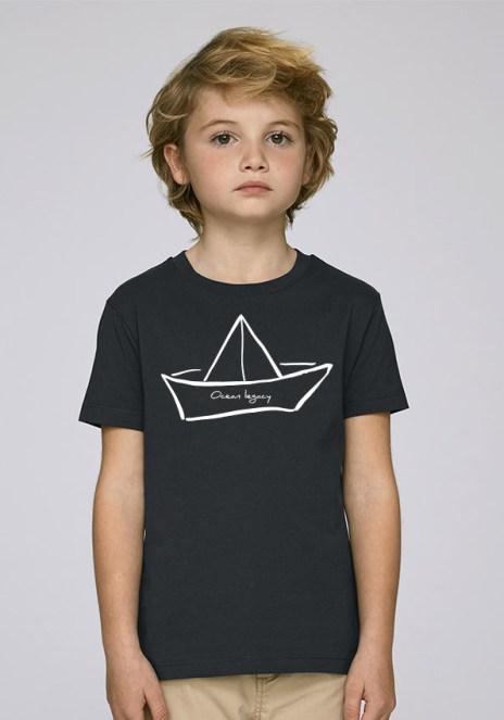 Tee-shirt noir et mixte pour enfants avec le motif Ocean legacy