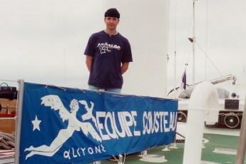 Jeffrey Gallant aboard Équipe Cousteau's windship Alcyone in 1999. Photo © Diving Almanac