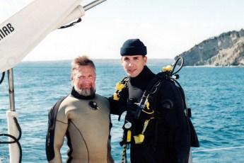 Jeffrey Gallant and Bernard Delemotte aboard Équipe Cousteau's windship Alcyone in 1999. Photo © Diving Almanac