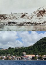 Saint-Pierre in 1902 and 2012. Photo © Jeffrey Gallant | Diving Almanac