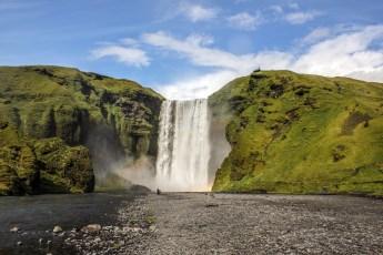 Skógafoss waterfall (60m, 200ft) on the Skógá River.  Photo © Jeffrey Gallant | Diving Almanac