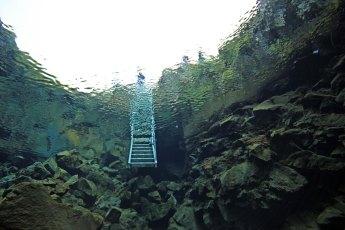Entrance ladder at Silfra. Photo © Jeffrey Gallant | Diving Almanac