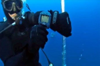 Deepest cage dive. Video still by Shark Diving International (YouTube)