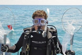 Joe Choromanski during a collection dive for Ripley's Aquarium. Photo © Joe Choromanski