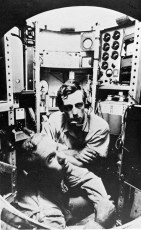 Lt. Donald Walsh and Dr Jacques Piccard aboard the Bathyscaphe Trieste. Photo by U.S. Navy