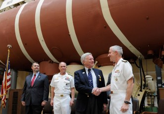 Dr. Don Walsh and the Trieste in Washington. Photo by U.S. Navy (Public Domain)