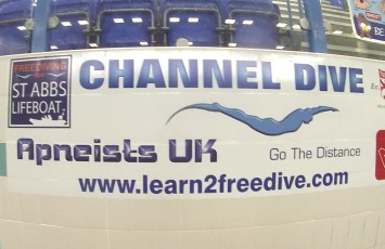 """English Channel Freedive"" record event in Bellshill, UK. Photo courtesy West Coast Freedivers."