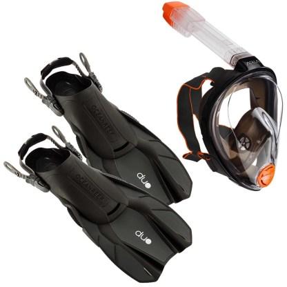 Set snorkeling Ocean Reef - mască facială Aria Classic / labe Duo, gri