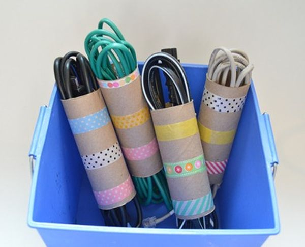 reciclar con washi tape tubos de cartón