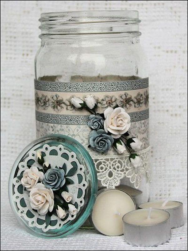 reciclar con washi tape tarros de vidrio