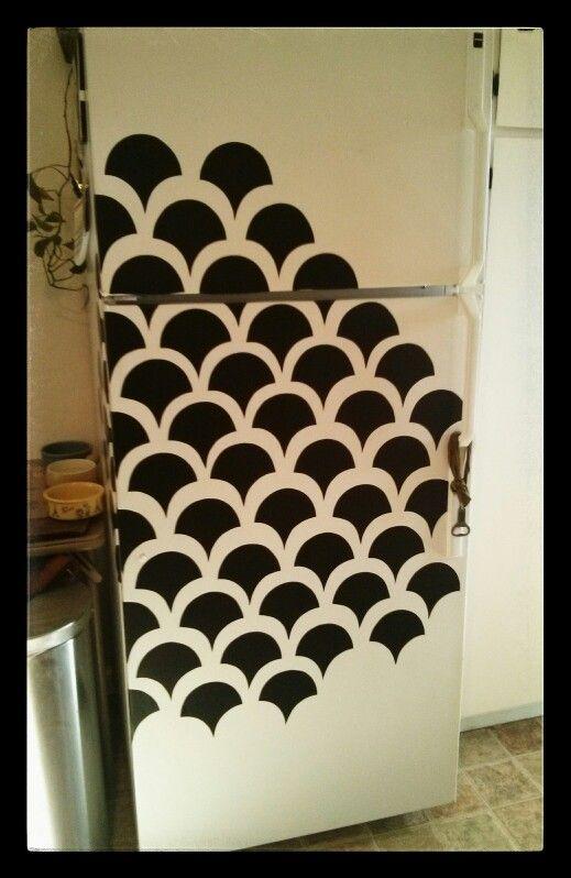ideas para decorar el frigorífico con motivos geométricos