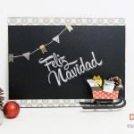 Especial Navidad: pizarra con trineo forrada con vinilo pizarra