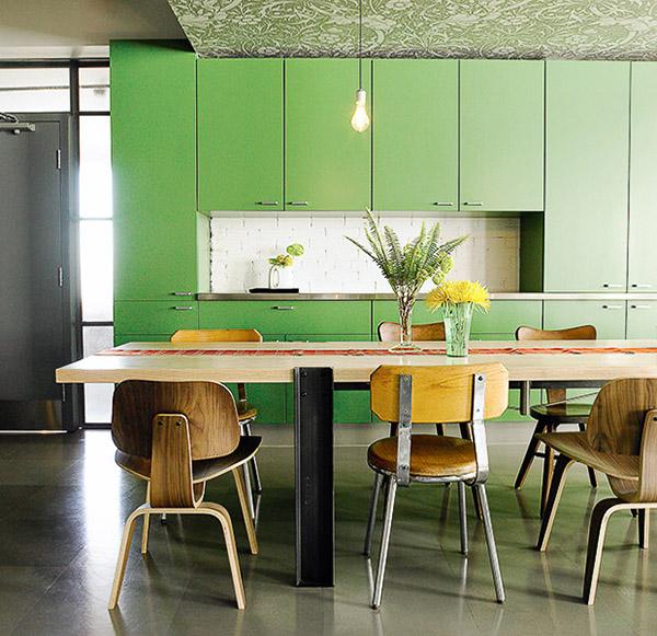 renovar los armarios de la cocina con vinilo color greenery