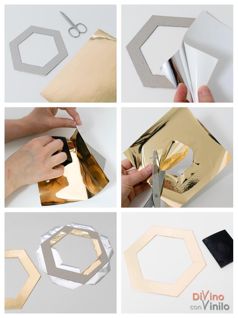 paso a paso para forrar marcos hexagonales con láminas de oro adhesivas