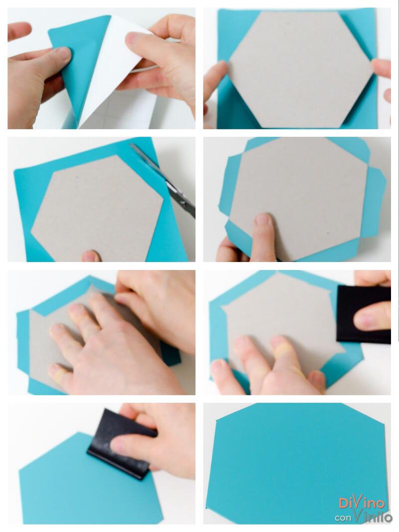 paso a paso para forrar hexágonos con vinilo adhesivo
