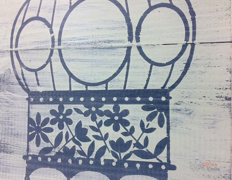 decoración sobre madera con milk paint y plantillas de vinilo adhesivo