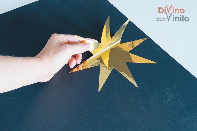 estrella de vinilo cromado dorado