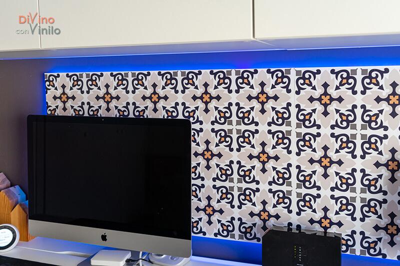 panel led forrado con vinilo decorativo estampado azulejos hidráulicos