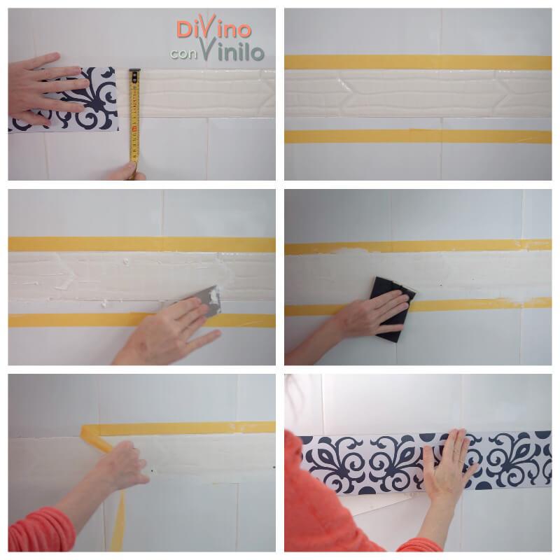paso a paso forrar cenefa decorativa adhesiva