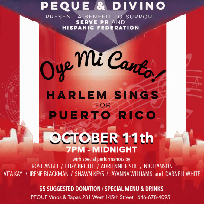 WEDNESDAY, 11 OCT 7PM – Food, Wine and Music to Benefit Puerto Rico!