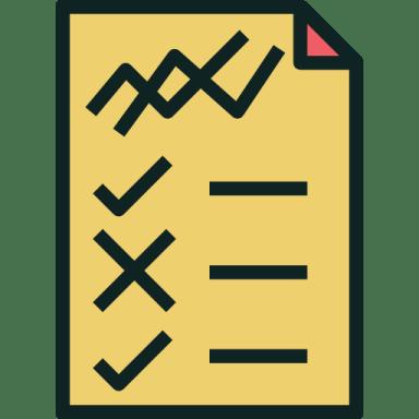 Desenho de uma folha com riscos simulando uma lista