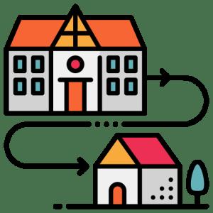desenho ligando com uma seta um prédio à uma casa