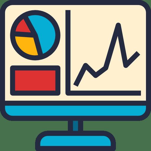 Ilustração de um monitor exibindo gráficos