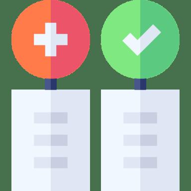 ilustração de duas listas, uma com um balão vermelho em cima e outra com um balão verde