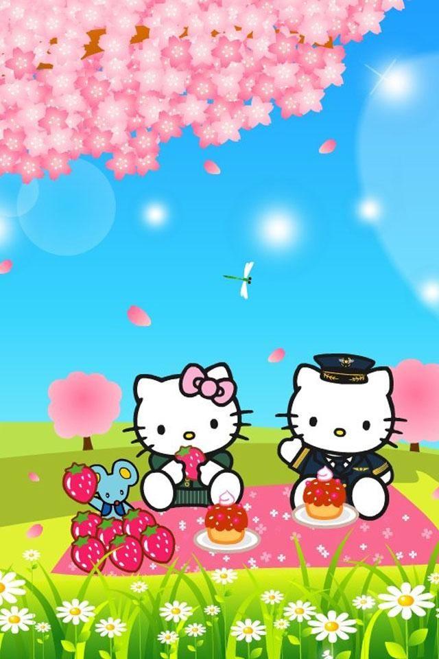 Wallpaper Kitty Hd キティちゃんのお花見 Iphone壁紙ギャラリー