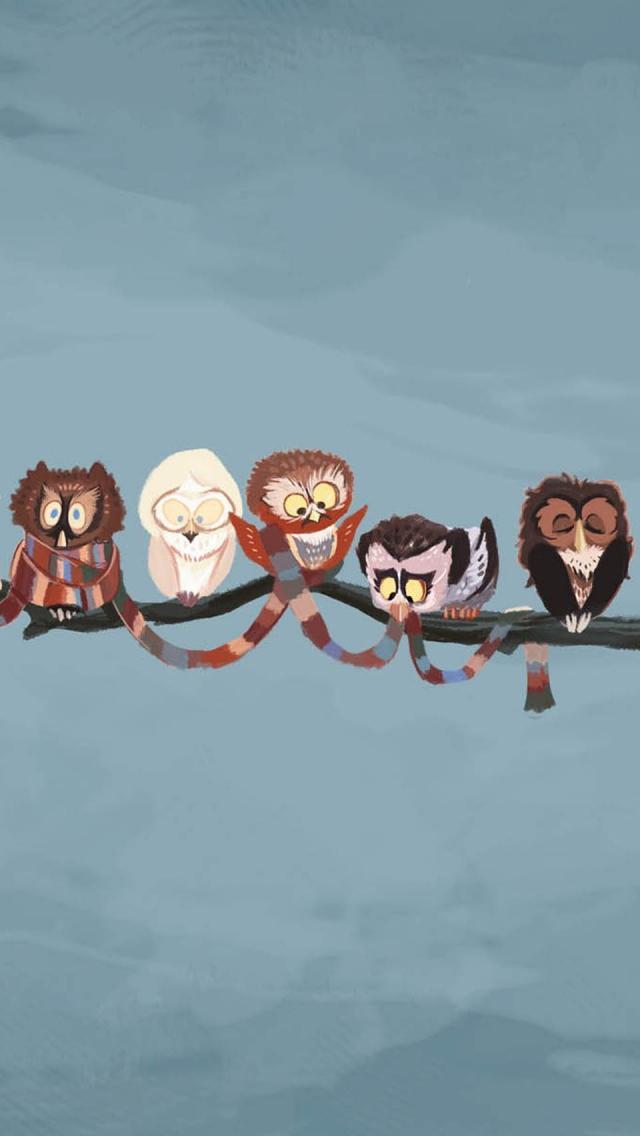 Cute Fall Owls Hd Wallpaper フクロウのイラスト スマホ壁紙 Iphone待受画像ギャラリー