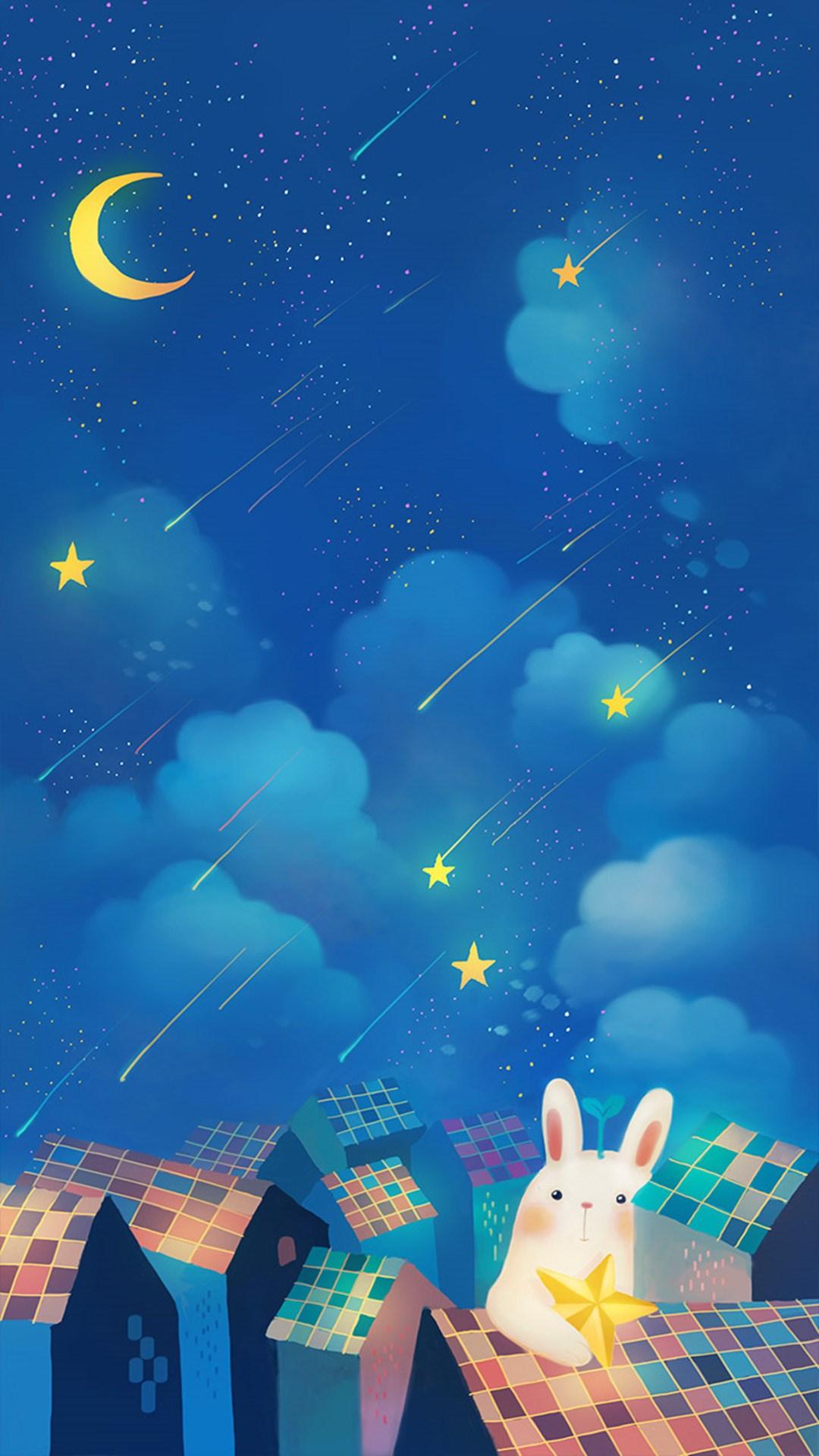 Rabbit Wallpaper Iphone 月夜のイラスト Iphonex スマホ壁紙 待受画像ギャラリー