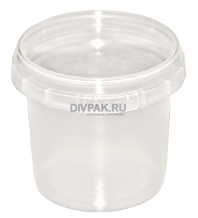 Ведро пищевое 1л круглое прозрачное