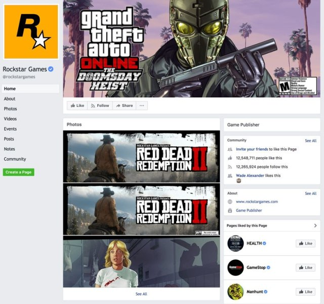 A screenshot showing card design at Facebook pages on facebook.com.