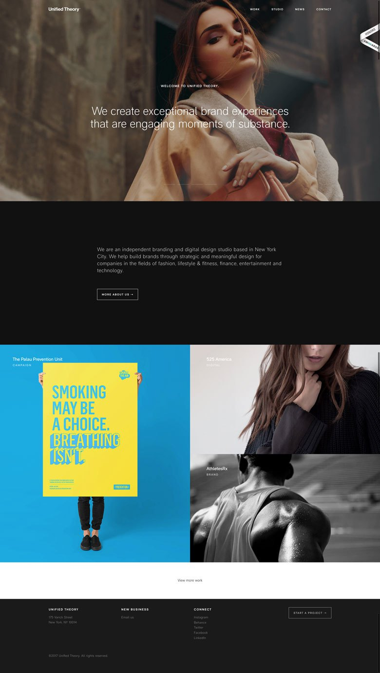 Screenshot of minimalist web design on unified-theory.co.