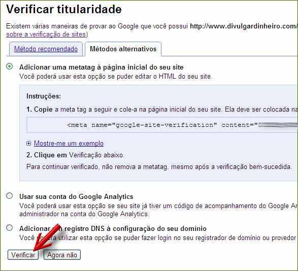 google webmasters tools ferramentas verificação