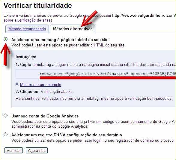 google webmasters tools ferramentas metatag