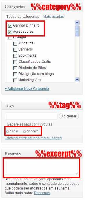 campos categorias tags resumo editor post wordpress excerpt