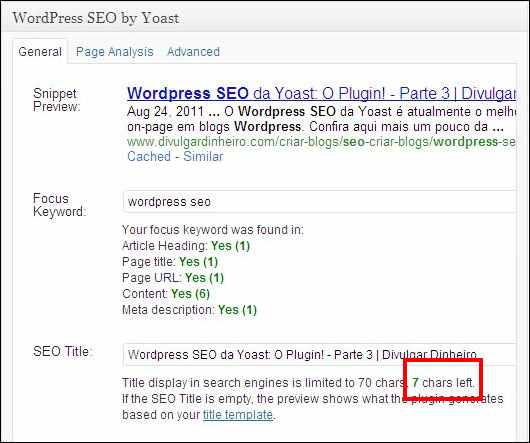 wordpress seo yoast otimização tamanho título posto