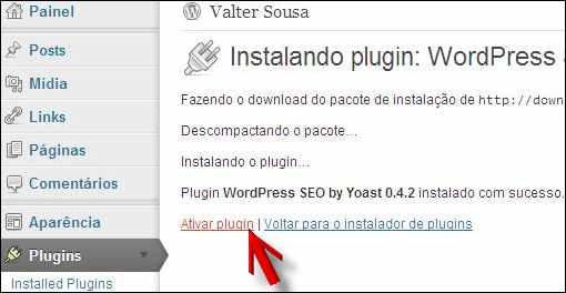 link ativar plugin wordpress